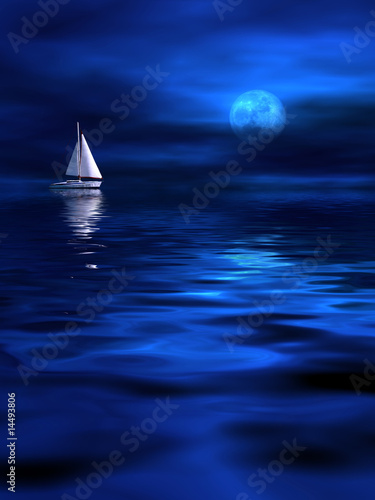 Fotobehang - Lonely ship in the moonlight