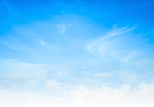 Fotobehang - World environment day concept: Abstract white cloud and blue sky in sunny day texture background