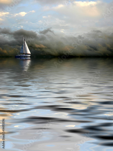 Fotobehang - Cloudy seascape with alone ship