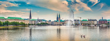 Fotobehang - Binnenalster (Inner Alster Lake) panorama in Hamburg, Germany at sunset