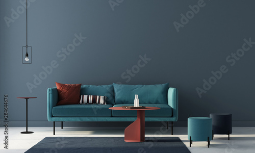 Fotobehang - Living room in blue with terracotta tables. 3d render