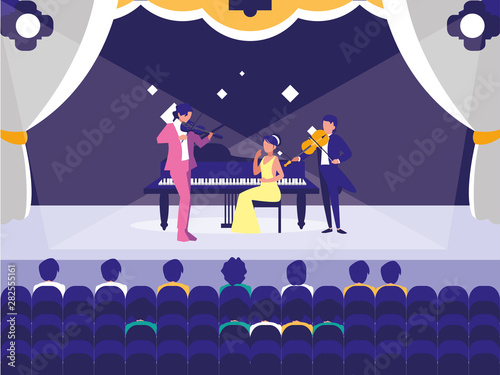 Fotobehang - people musicians concert event design