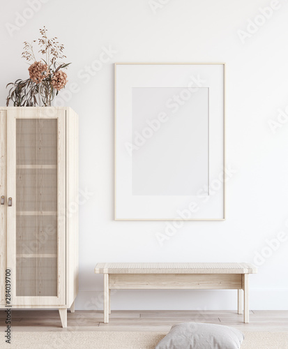 Fotobehang - Mock up poster in Scandinavian home interior, 3d render