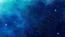 Fotobehang - Blue watercolor space background. Illustration painting