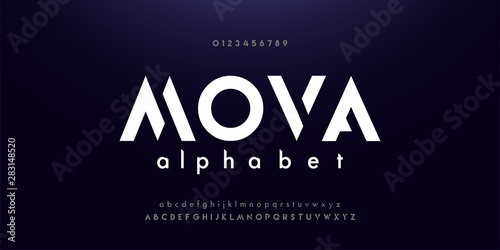 Fotobehang - Abstract digital modern alphabet fonts. Typography technology electronic dance music future creative font. vector illustraion