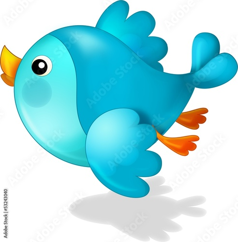 Fotobehang - The cartoon blue bird - illustration for the children