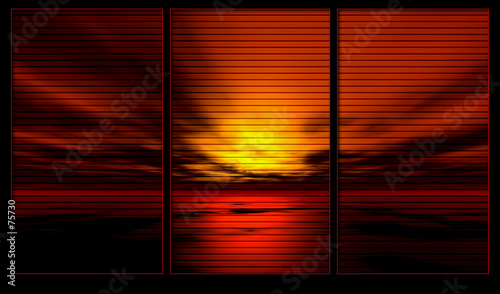 Fotobehang - window background series. ocean sunset