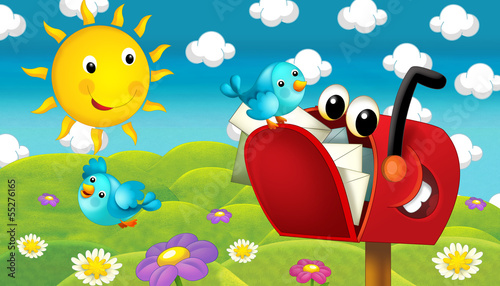 Fotobehang - The happy and colorful illustration for the children