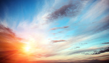 Fotobehang - Sunrise summer sky panorama