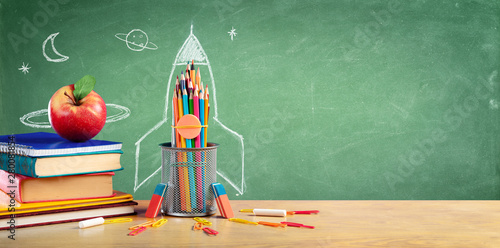 Fotobehang - Back To School - Books And Pencils With Rocket Sketch