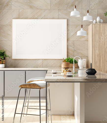 Fotobehang - Mock up poster in cozy kitchen interior, Scandinavian style, 3d render