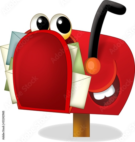 Sticker - The cartoon mailbox - illustration for the children