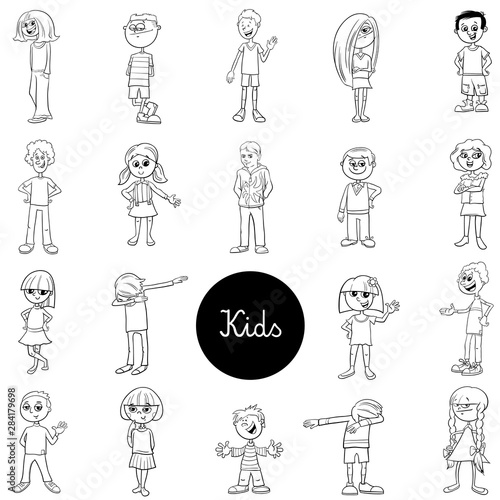Fotobehang - comic children characters black and white set